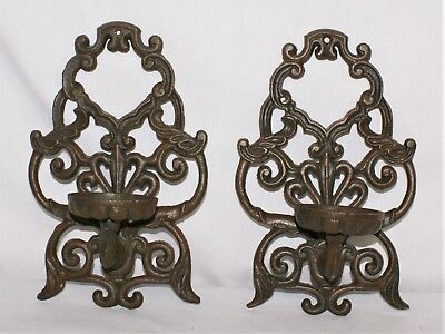 Cast Iron Candle Holder Set Pair Wall Mount Brown Rustic Ornate Heavy Gothic