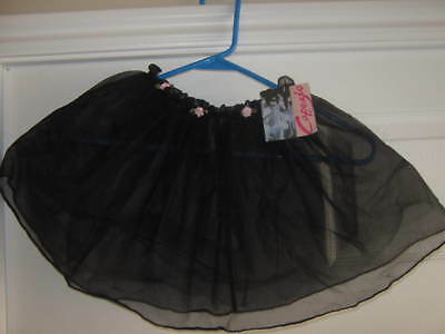 NEW Capezio Black tutu skirt with pink roses - Child size 4/6x