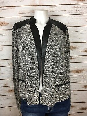 Mossimo Women's Tweed Black and Grey Open Front Cardigan Blazer Size XL Chic