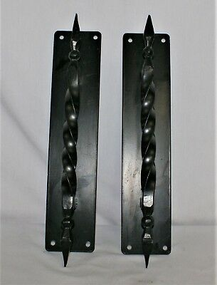 Black Iron Door Handles Gothic Wrought Metal Hardware Large Heavy Ornate Twisted