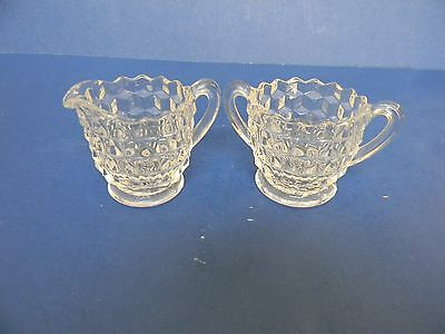 Fostoria American mini cream & sugar bowls individual serving 3 mold marks VGC