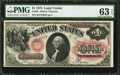 Fr 26 1875 $1 Legal Tender 1 DOLLAR Impecable ACE!