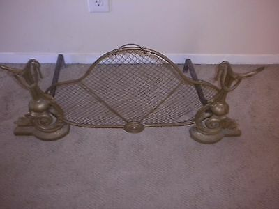 Vintage Andirons Fireplace Screen Brass/Bronze