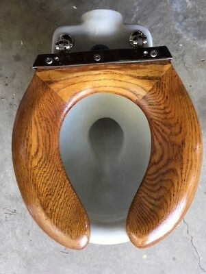 Antique wood oak toilet seat vintage