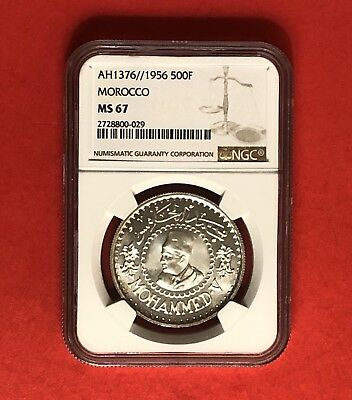 Morocco- Unc 500 Francs Coin ,1956 Certified By Ngc Ms 67..ex.rare Grading.