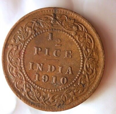 1910 INDIA 1/2 PICE - High Quality Collectible - FREE SHIPPING - India Bin #B