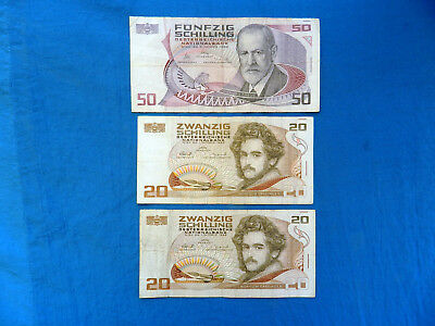 Lot of 3 Withdrawn Austria Schilling Banknotes  *90 ATS*    *Redeemable*