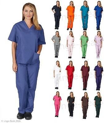 Medical Nursing Scrub Set Top/Pants Unisex Men/Women Natural Uniforms All Colors