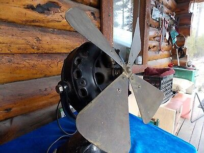 "General electric cast iron 12"" antique desk fan steam punk brass blade 1900-1901"
