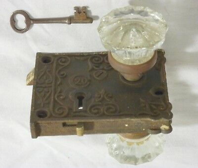 "Vintage ""20th Century"" C20 Ornate Vertical Cast Iron Rim Lock with Key"