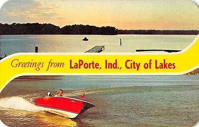 "LaPorte Indiana ""Greetings From"" City of Lakes boaters vintage pc (Z44239)"