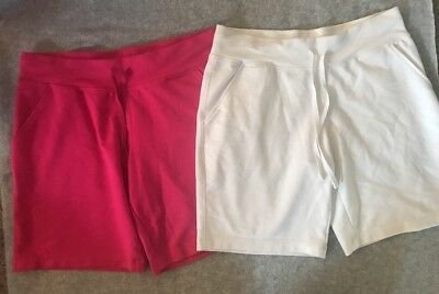 Mixed Lot Women's Danskin Drawstring Shorts Sz 8-10 Pink White 2 Pair