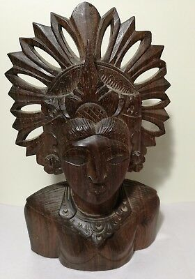 Vintage Balinese Hand Carved hard wood sculpture, Ornate Wood Bust H21cm