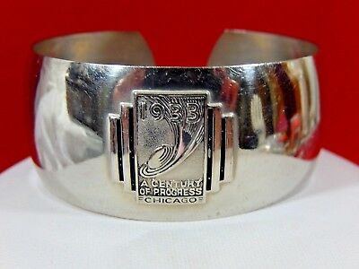 Antique Art Deco 1933 A Century Of Progress Chicago World's Fair Cuff Bracelet