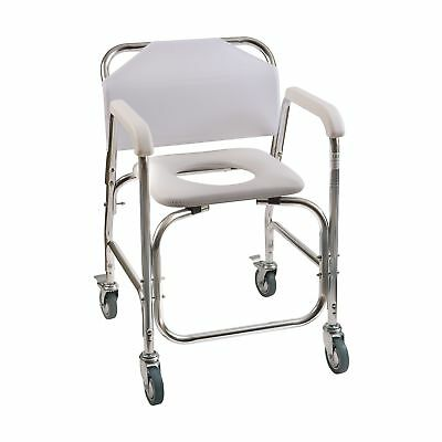 Duro-Med Shower Chair With Wheels, Commode Chair and Padded Toilet Seat, Show...