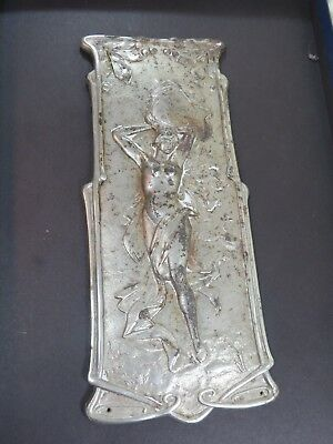 Vintage Antique Art Nouveau FIGURAL GODDESS Metal Salvaged Door Push Hardware