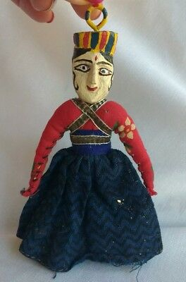 Rare Antique Hand Made Wood Hand Carved Woman Ornament or Charm Hand Painted