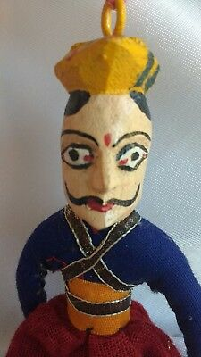 Rare Antique Hand Made Wood Man Mustache Ornament Charm Hand Painted From India