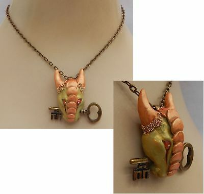 Dragon Key Pendant Necklace Jewelry Handmade NEW Hand Sculpted NEW Clay Gold