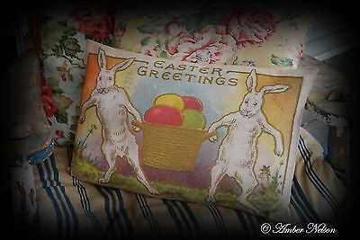 Easter eggs Spring Vintage antique Rabbit bunny basket primitive postcard pillow