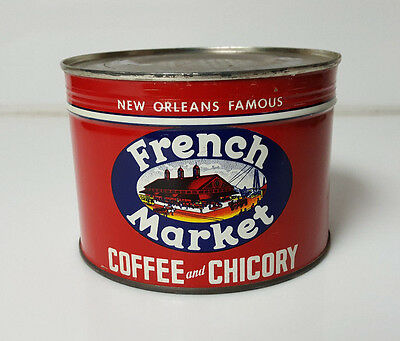 Vintage Coffee Tin Full French Market New Orleans Chicory Canco American 1lb