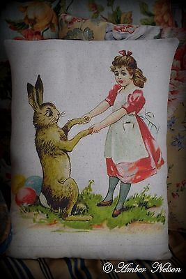 Easter eggs Spring Vintage antique Rabbit bunny dancing girl apron primitive