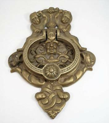 VINTAGE Doorknocker CHERUBS GROTESQUE FACES Brass or Bronze Large Heavy