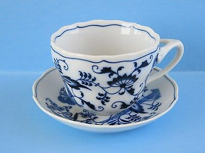 Blue Danube Blue Onion Oversized Cup Saucer Rectangle Tripod Handle  2 Pc