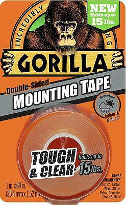 "Gorilla Tough & Clear Mounting Tape, Double-Sided, 1"" x 60"", Clear 1 - Pack"