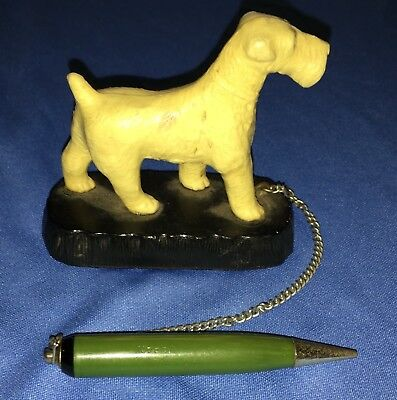 Vintage Celluloid Airedale Terrier Figurine With Mechanical Pencil Made In Japan