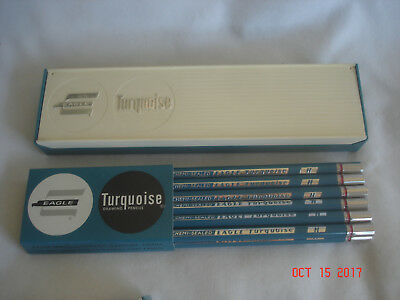 LOT 12 NEW in PLASTIC BOX & SLEEVE Vtg. CHEMI-SEALED EAGLE TURQUOISE H PENCILS