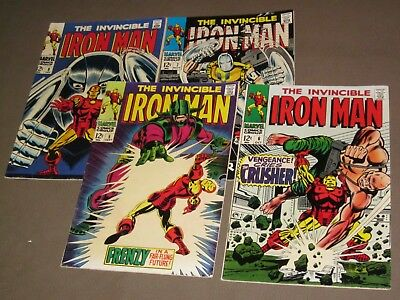 IRON MAN lot of 4 comics Early Issues 5 6 7 8 Nice Shape ('68)