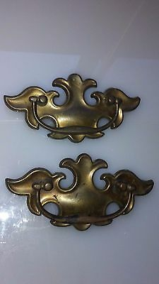 2~ Vintage Antique Brass Style Drawer Pull Handles