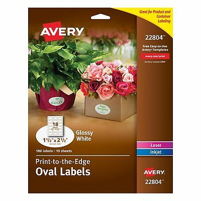 Avery Easy Peel Print-To-The-Edge Oval Labels, 1-1/2 x 2-1/2 Inches, Glossy W...