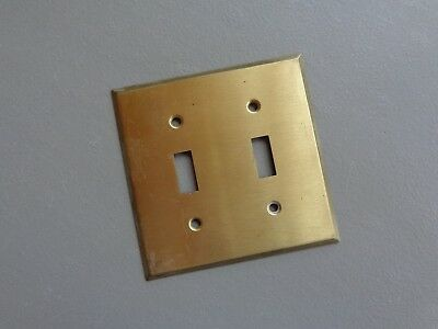 "Vintage Double Light Switch Cover Plate Original Heavy Solid Brass 4-1/2"" Square"