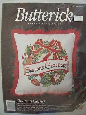 Butterick counted cross stitch  Christmas Classic pillow kit,New Was $19.99