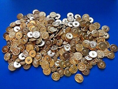 HUGE Lot of MATCHING Vintage Metal Buttons - Brass Toned Royal Design- NOS