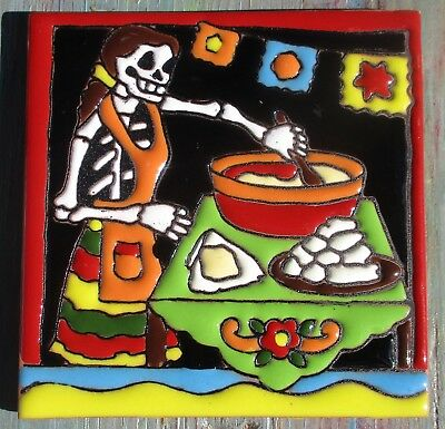 """Day of the Dead 4"""" tile Talavera pottery Mexico hi relief HUGE SALE Lady Kitchen"""