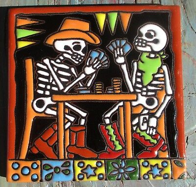 """Day of the Dead 4"""" tile Talavera pottery Mexico hi relief HUGE SALE cards poker"""