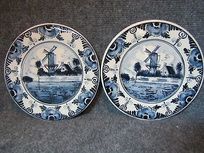 Vintage Delft Collectable Blue Hand Painted Set of 2 Plates - Holland