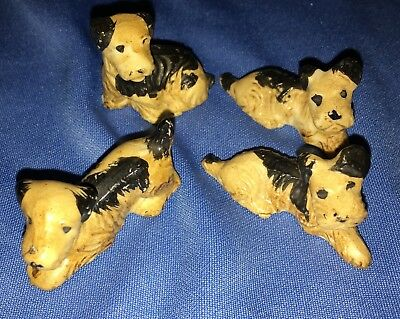 Four Vintage Airedale or Other Terrier Ceramic Figurines From Japan
