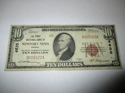 $10 1929 Newport News Virginia VA National Currency Bank Note Bill Ch #4635 Fine