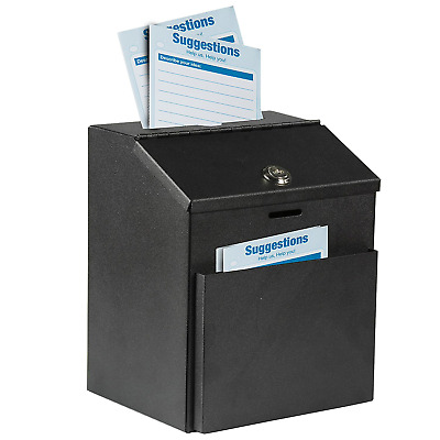 Wall Mountable Steel Suggestion Donation Collection Charity Key Drop Box Black