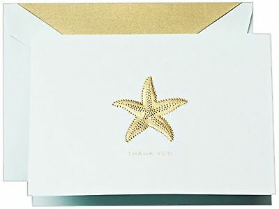 Crane & Co. Hand Engraved Starfish Thank You Note - Pack of 10 Notes (CT1420)