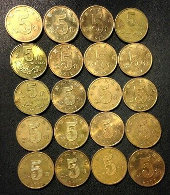 Old China Coin Lot - 5 JIAO - 20 Excellent Coins - UNCOMMON - Lot #J15