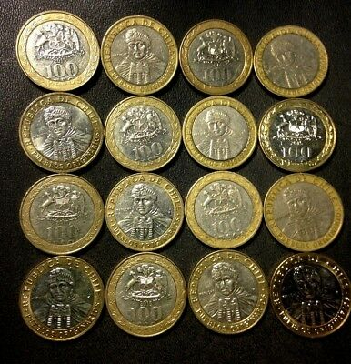 Old Chile Coin Lot - 100 PESOS - 16 Bi-Metal Coins - Uncommon - Lot #J15