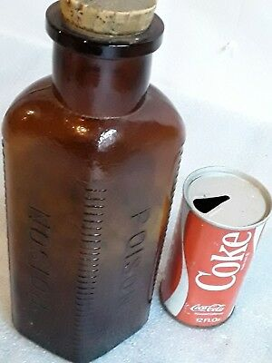 Large vintage amber brown 3-sided poison bottle w/ orig label Lilly Co.  antique