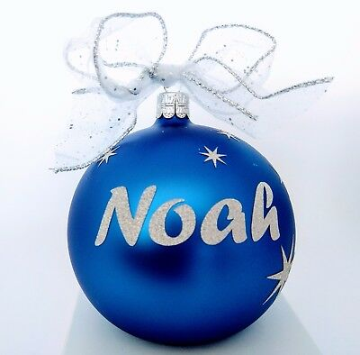 European Glass Personalized Christmas baubles in display box $27 top quality.
