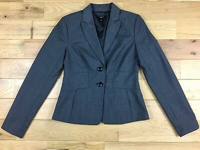 ANN TAYLOR Womens Size 2 Career Blazer Jacket Vented Gray Regular Lined 2 Button