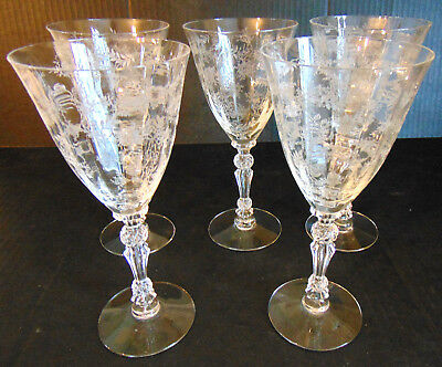 """5 Fostoria Chintz Etched Water Wine Goblets Crystal Glasses  (7 3/4"""")"""